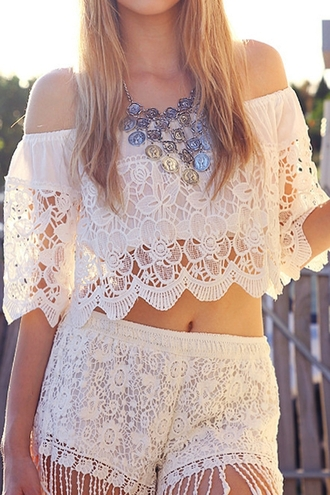 top white white lace white lace top crop tops white lace crop top lace crop top crochet white crochet white crop tops white blouse lace blouse lace top crochet blouse white crochet blouse white crochet crop top off the shoulder off shoulder crop top off shoulder blouse white off shoulder top lace shorts white lace shorts accessories jewelry boho bohemian boho blouse boho necklace boho patterns shorts boho top beach summer outfits summer zaful shorts