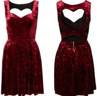 dress velvet red dress red velvet crushed velvet heart cut-out heart cutout strappy zip flowy a line sweetheart velvet dress