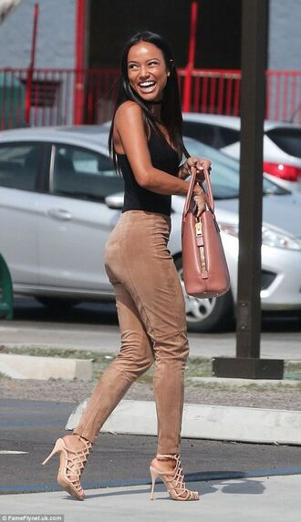 pants top karrueche black top sandals high heel sandals nude sandals strappy sandals bag brown bag shoes