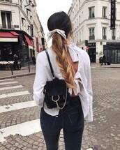 shirt,tumblr,white shirt,open back,backless,backpack,black backpack,denim,jeans,black jeans,ponytail,long hair,hair,hair bow,hairstyles