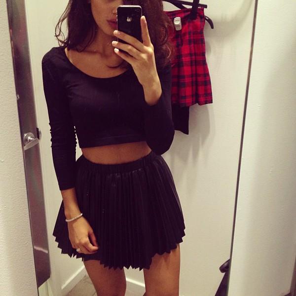 d0cbcadad9 skirt black shirt black skirt long sleeve crop top crop tops sweater lulus  pleated skirt midi