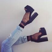 ripped jeans,jeans,light blue jeans,ankle strap heels,ankle strap,black heels,platform shoes,platform high heels,platform heels,cleated sole platforms,black shoes,shoes,jessica,mesh