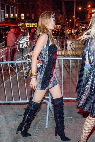 shoes lighting dress dress met gala afterparty 2018 paris jackson boots suede boots mini dress one shoulder dress balmain