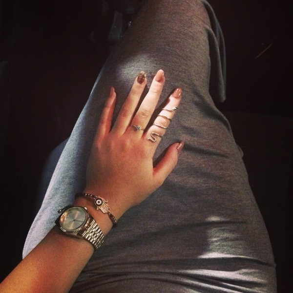 jewels watch snake ring grey dress bag
