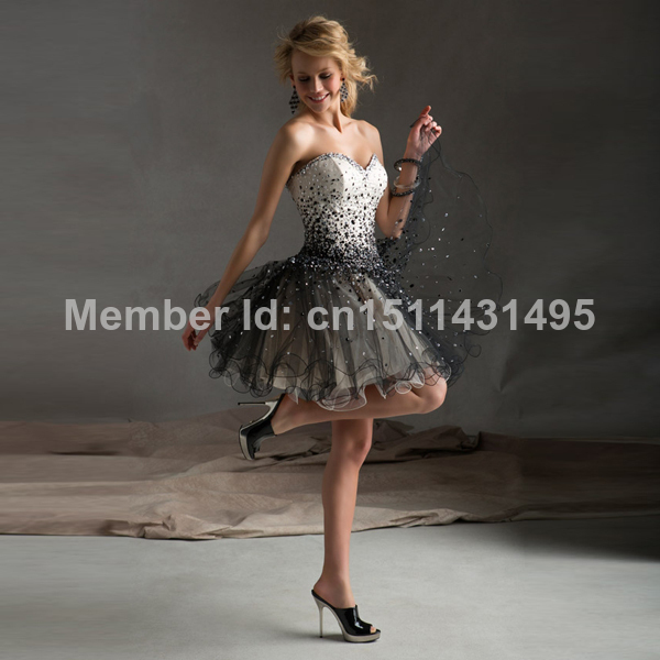 Aliexpress.com : Buy In Stock Strapless Black Tulle Short Evening Dress Prom Dress Beaded Prom Gown Bridal Party Dress from Reliable dress organza suppliers on GP Clothing Co.,Ltd