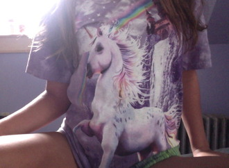 shirt unicorn rainbow galaxy print tumblr galaxy shirt cute purple pink purple dress t-shirt indie