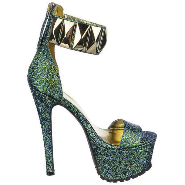 307473b5dd117e shoes blue green platform heels ankle strap heels gold band sandal heels  heels arm green heels