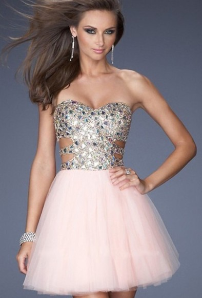 homecoming dress cut-out dress beads glitter cut open side