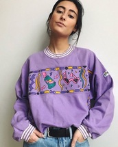 top,light purple graphic jumper,sweater,purple,jumper,80s style,colorful,aesthetic,mainly purple,cuffed,tumblr,light purple,stripes,90s style,niche meme,pullover,retro,vintage pullover,blouse,purpur,violet,print