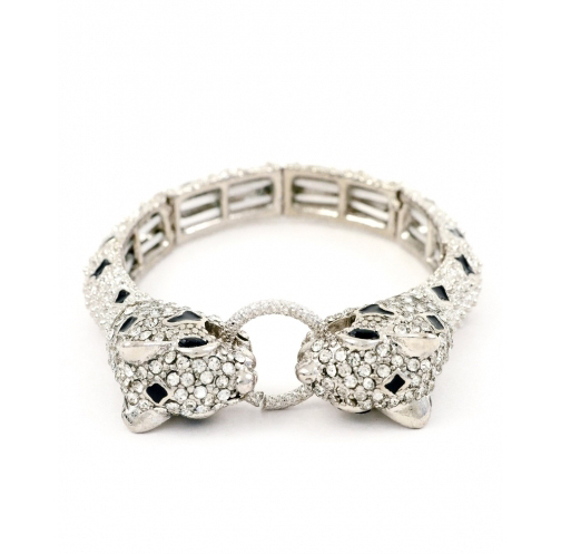 Crystal linked panther stretch bracelet