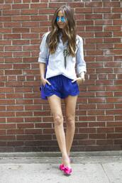 something navy,shorts,bag,top,shoes,jewels,sunglasses