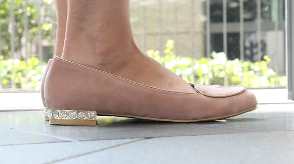 shoes mocassins bling pink gold flats