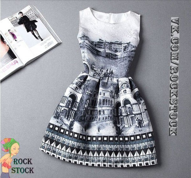 dress black dress white dress short dress cute dress cool dress style fashion vintage dress white dress with black city pattern city dress city b&w chic black and white jacquard skirt