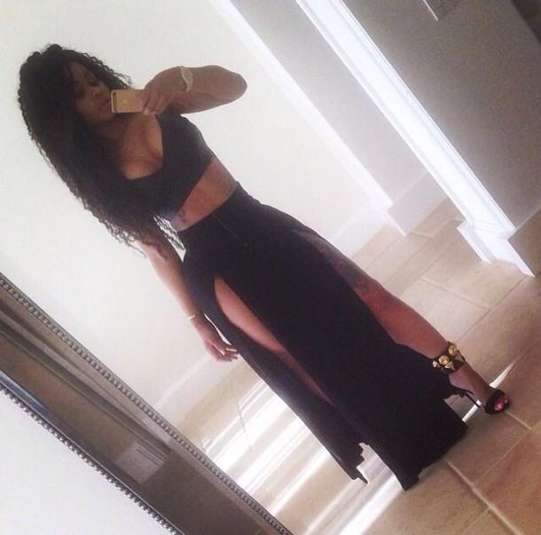skirt black skirt top
