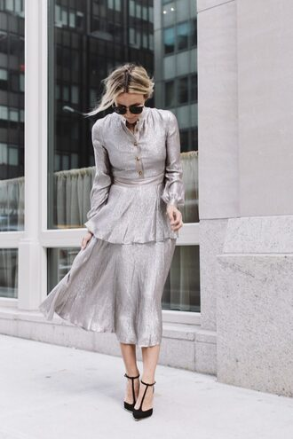 dress tumblr metallic metallic dress silver silver dress midi dress long sleeves long sleeve dress high heels black heels sunglasses christmas christmas dress holiday dress holiday season