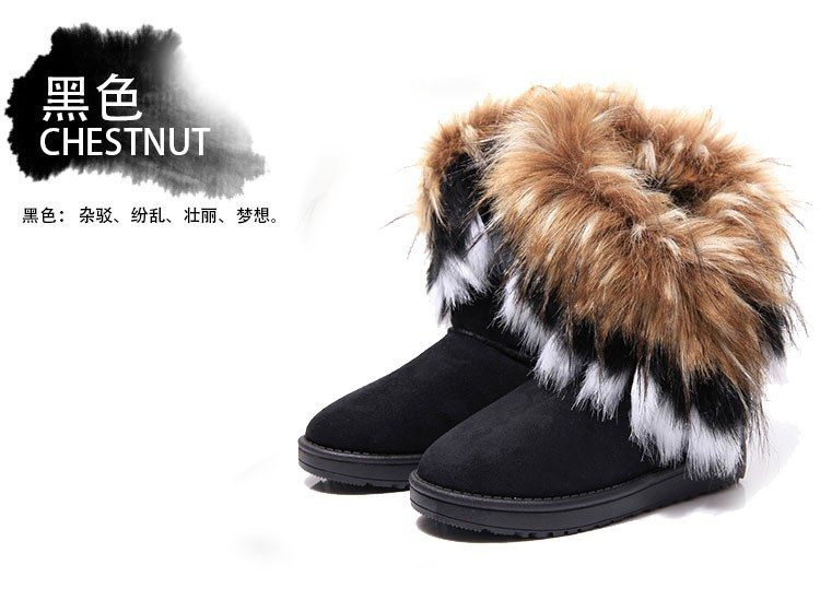 New Korean imitation rabbit fur fox fur snow boots snow warm boots for women's  female models  blue black khaki free shipping-in Boots from Shoes on Aliexpress.com