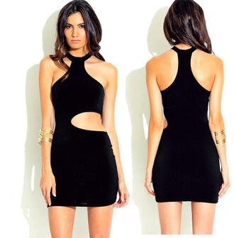 dress little black dress clubwear cut-out halter party outfits racerback sexy