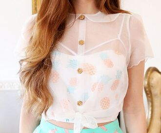 blouse flowers button pineapple white see through cream collar doll doll collar peter pan collar brown wood cute sweet pretty marzia gorgeous tie crop transparent