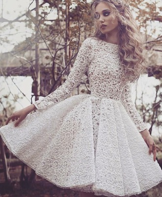 dress lace dress lace white dress beautiful wedding dress wedding clothes wedding engagement party dress short dress short elegant prom dress party dress midi dress long sleeve dress