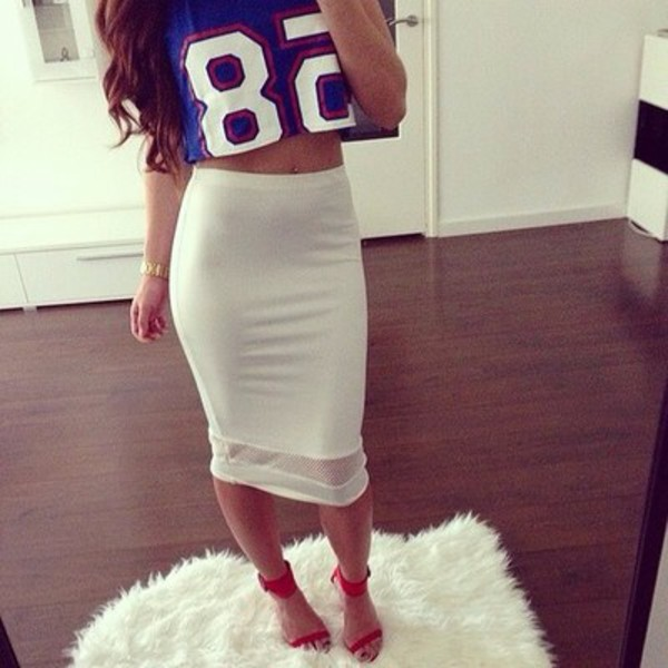 see through skirt jersey tee shirt white pencil skirt