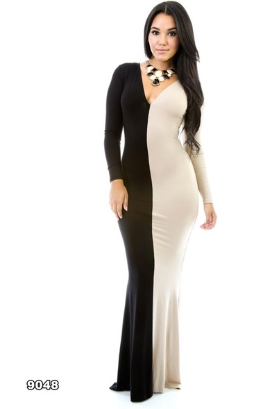 Jersey color block long sleeve long dress