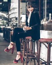 jacket,tumblr,blazer,velvet,velvet blazer,black blazer,pants,velvet pants,black pants,sandals,platform sandals,sandal heels,high heel sandals,red sandals,shirt,party outfits,classy,cropped velvet pants,black velvet pants