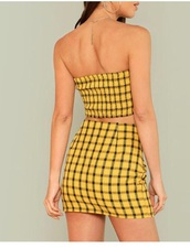 dress,girly,girly wishlist,yellow,plaid,plaid shirt,two-piece,two piece dress set,cropped,crop tops,crop,plaid skirt,skirt