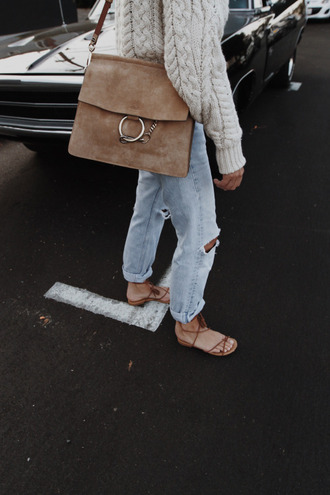 bag tumblr nude bag chloe bag chloe faye bag chloe denim jeans light blue jeans ripped jeans sandals flat sandals sweater nude sweater white cable knit sweater