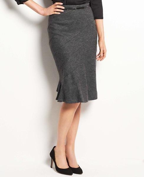 Flounce Wool Jersey Skirt | Ann Taylor