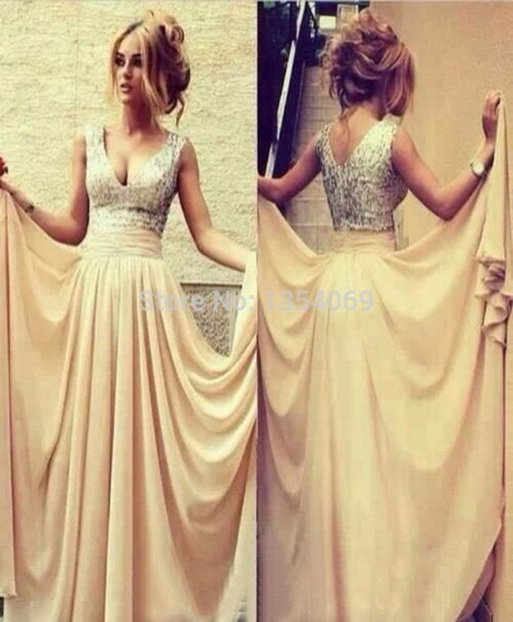 New design long a line v neckline sleeveless tank draped champagne evening dress prom dress party dress custom made dyp130