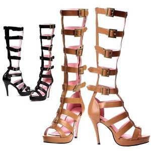 Roma Knee High Sandals Sexy Roman Gladiator Amazon Warrior Costume Boots Heels | eBay