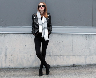 sara strand blogger scarf sunglasses rock winter outfits black jeans perfecto