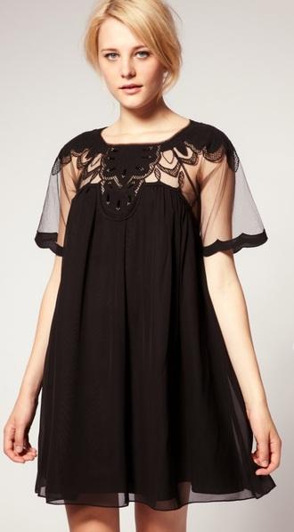 dress little black dress sheer cut-out dress black dress baby doll dress