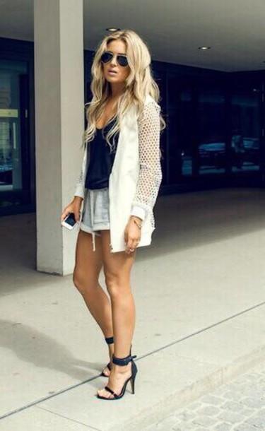 shorts jacket white coat cardigan net jacket