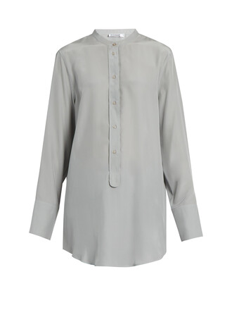 shirt silk light grey top