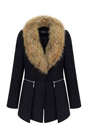 Qinying women woolen blend overcoat plus size winter outerwear jacket coat at amazon women's coats shop