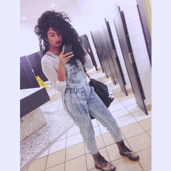 pants overalls shoes dress denim pinafore dress denim pinafore follow me ill follow back light blue high waisted jeans curly hair curly hair make-up boots combat boots