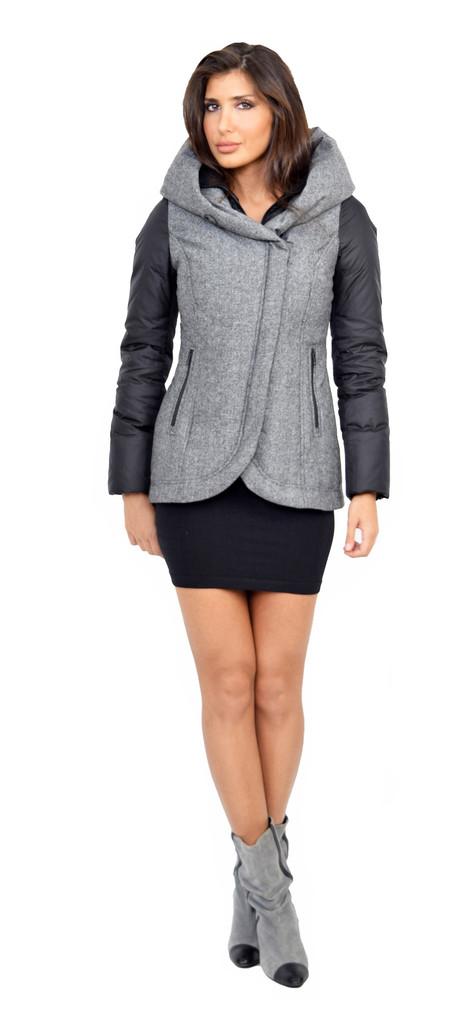 F4 black wool down jacket