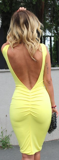 dress bandage dress sexy dress backless yellow dress midi dress yellow open back dresses open back