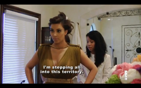 kanye west kim kardashian olive dress keeping up with the kardashians gold designer midi dress Belt gold belt olive dress designer dress stylist