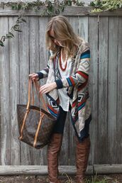 jacket,brown leather over the knee boots,aztec print coat,shoes,shirt,cardigan