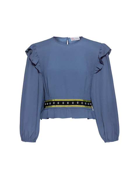 RED VALENTINO blouse studded cropped ruffle blue satin top