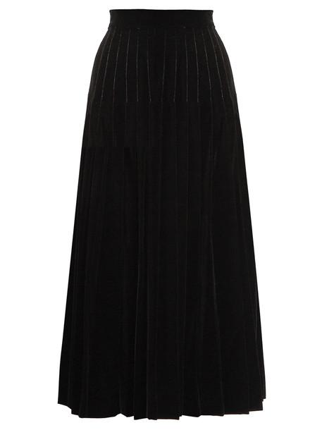 Saint Laurent skirt midi skirt pleated midi velvet black