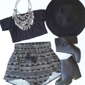 shorts black grey black shorts tribal pattern tribal shorts off the shoulder crop tops top