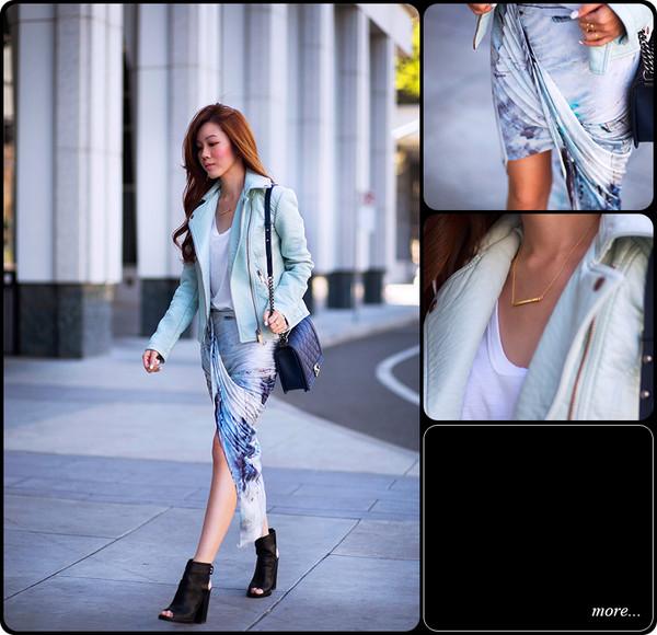 tsangtastic jacket t-shirt skirt jewels shoes bag
