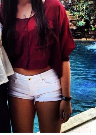 shirt t-shirt shorts blouse top red shirt button up red