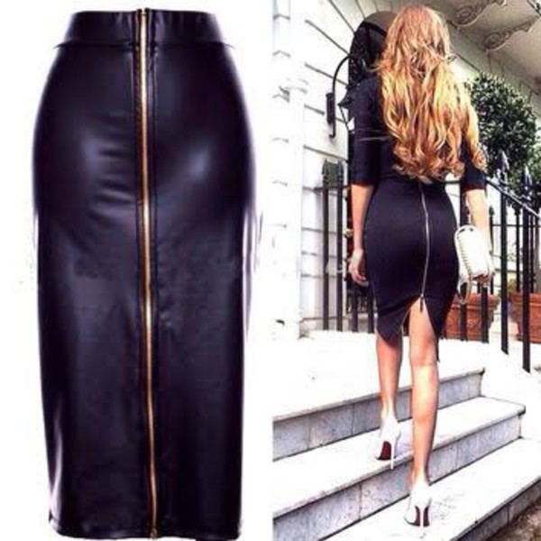 Shirt: leather skirt, black leather skirt, fetching faux leather ...