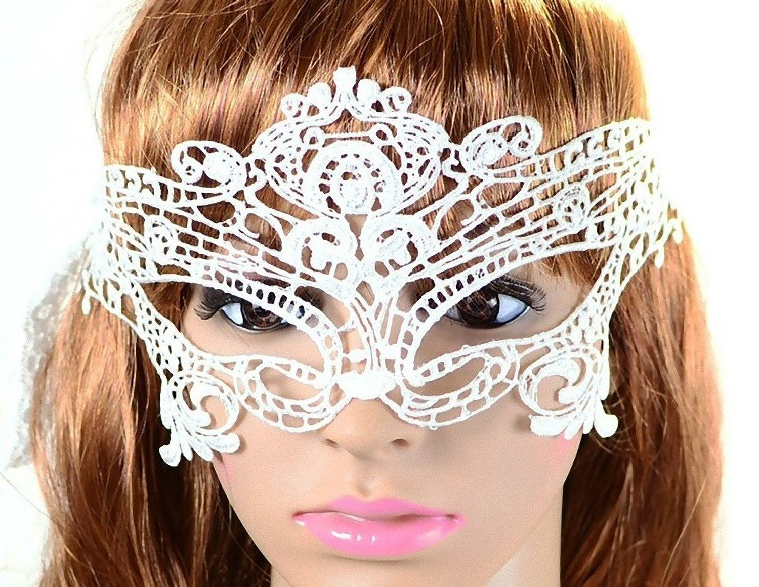 Amazon.com: Sexy Mysterious Lace Eye Mask Masquerade [ White Butterfly Style ] Fancy Dress Party: Clothing