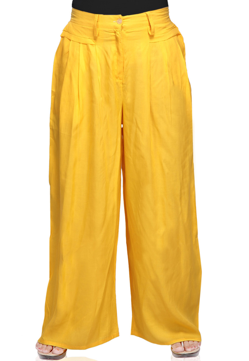 Yellow Cotton Readymade Palazzo Pant Online Shopping: TVT2