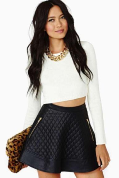 crop tops skater skirt wet look knitted crop top wet look skirt leather skirt skirt